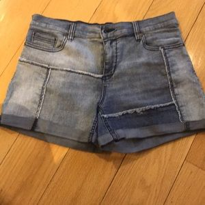 Jean patchwork shorts